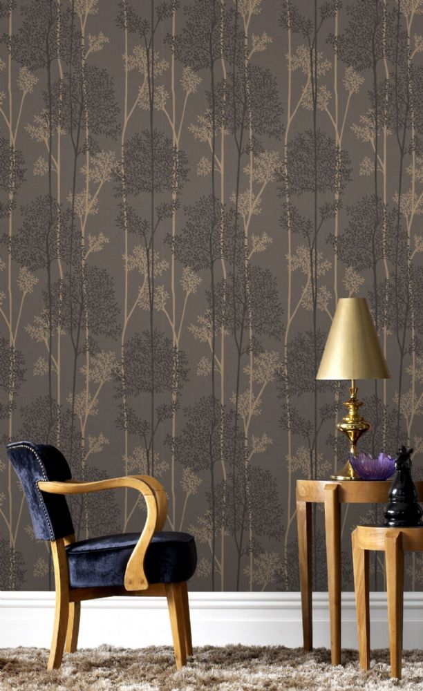 Graham and Brown Eternal Chocolate/Bronze 33-289 Wallpaper
